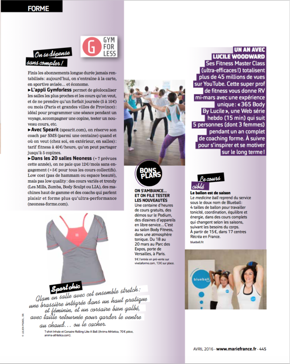 365 Body By Lucile - Marie France avril 2016 - Lucile Woodward coach sportif